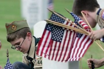 boy scouts american flags